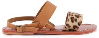 HARTFORD Leopard Leather Sandals $158.40 thestylecure.com