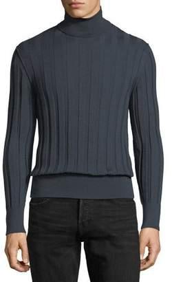 Tom Ford Cashmere-Silk Ribbed Turtleneck Sweater, Slate