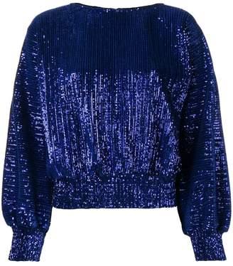 RtA round neck glitter blouse