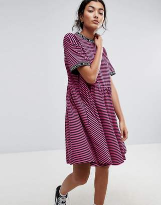 Lazy Oaf Smock Dress In Stripe With Bad For You Taping