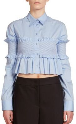 Cedric Charlier Smocked Cropped Top $995 thestylecure.com