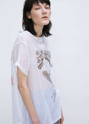 Off-White white multicolor printed net tee $407 thestylecure.com