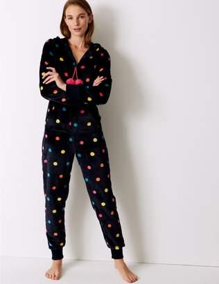 Marks and Spencer Fleece Spotted Long Sleeve Onesie
