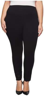 Hue Plus Size Eyelet Hem Cotton Skimmer Women's Casual Pants
