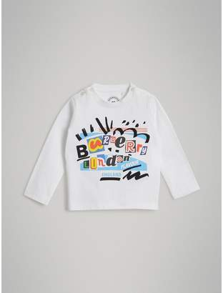 Burberry Long-sleeve Logo Print Cotton T-shirt , Size: 12M