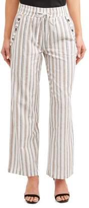 Derek Heart Juniors' Stripe Drawstring Cropped Linen Wide Leg Pants