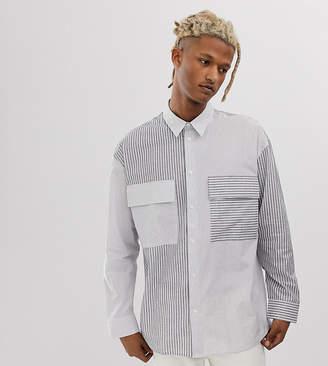 Noak shirt in cut and sew stripe in black and white
