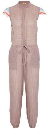 Lemlem Frayed Gauze-Paneled Crinkled Cotton-Blend Jumpsuit
