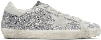 Golden Goose SSENSE Exclusive Silver Glitter Superstar Sneakers $450 thestylecure.com