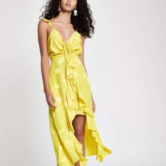 River Island Womens Yellow frill slip cami midi dress