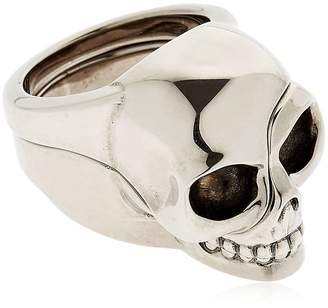 Alexander McQueen Divided Skull Silver Plated Brass Ring