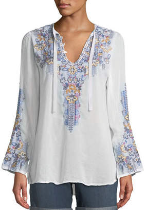 Johnny Was Tanya Embroidered Georgette Blouse, Plus Size