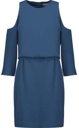 Tibi Savanna Cold-Shoulder Layered Crepe Mini Dress