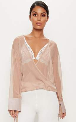 PrettyLittleThing Nude Sheer Mesh Wrap Front Blouse