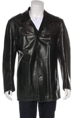 Prada Leather Button-Up Coat