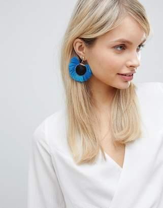 South Beach Bright Blue Tassel Disc Earrings (+)