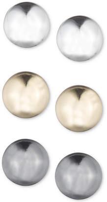 Nine West 3-Pc. Set Tri-Tone Stud Earrings