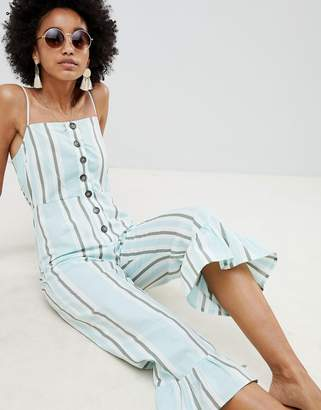 Asos Design Cotton Frill Hem Jumpsuit With Square Neck And Button Detail In Variated Stripe