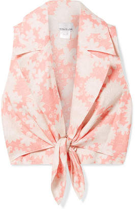 Miguelina Jill Tie-front Floral-print Linen Top - Blush