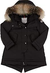 Moncler Kids' Fur-Trimmed Hooded Down Coat-Black