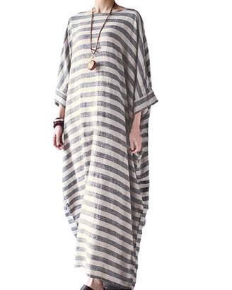 BIUBIU Women's Linen Cotton Loose Maxi Dress Vintage 3/4 Sleeve Kaftan Plus Size 3XL