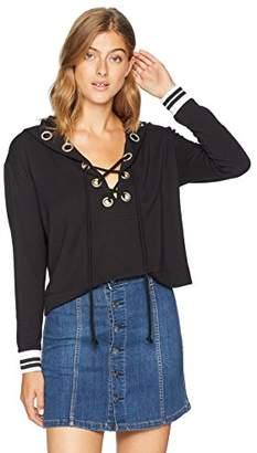 Enza Costa Women's Brushed Fleece Front Lace up Loose Long Sleeve Sweatshirt