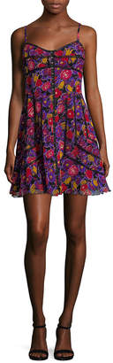 Anna Sui Floral Print Mini Dress