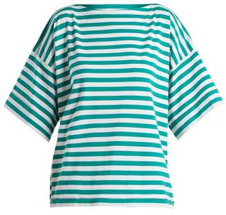 Marni Boat Neck Striped Cotton Top - Womens - Green Stripe