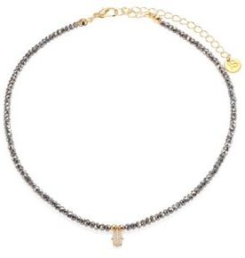 Jules Smith Diana Faceted Hematite & Pave Hamsa Choker $55 thestylecure.com