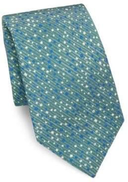 Isaia Geometric Printed Silk Tie
