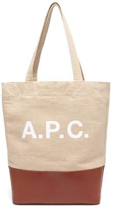 A.P.C. Axel Canvas And Leather Tote Bag - Mens - Beige