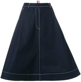 Thom Browne Trompe L'oeil Swing Skirt In Cotton Twill