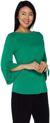 Susan Graver Liquid Knit Top with Tie Sleeves