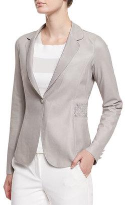 Armani Collezioni Long-Sleeve Leather Blazer, Light Gray $1,595 thestylecure.com