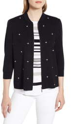 Ming Wang Embellished Knit Jacket