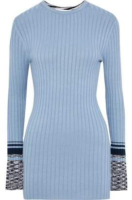 Victoria Victoria Beckham Victoria, Victoria Beckham Intarsia And Ribbed-knit Sweater
