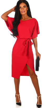 Pink Boutique Came Here For Love Red Belted Wrap Front Midi Dress