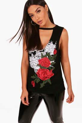 boohoo Holly Printed Embroidered Choker Vest