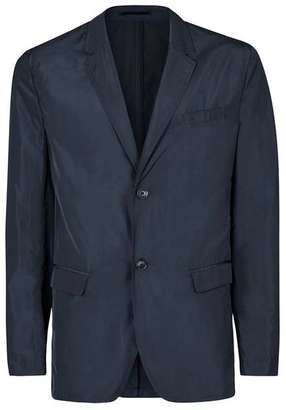Navy Nylon Skinny Fit Blazer $160 thestylecure.com