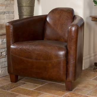 Noble House Elias Brown Leather Club Chair
