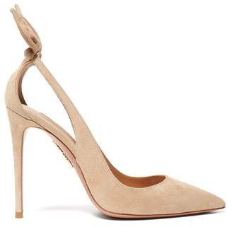 Aquazzura Deneuve 105 Bow Suede Pumps - Womens - Nude