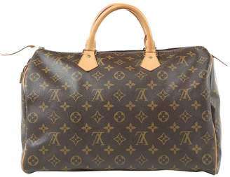 Louis Vuitton Speedy Brown Cotton Handbag