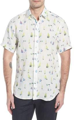 Bugatchi Shaped Fit Sailboat Linen Sport Shirt