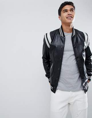 Barney's Originals Real Leather Varsity Jacket with Panelling