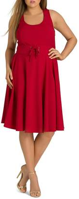 City Chic Plus Cute Lace-Up Fit-and-Flare Dress