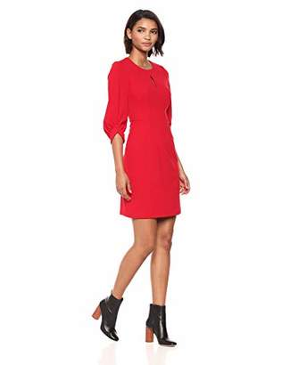 Calvin Klein Women's Solid Blouson Sleeve A-Line Dress with Front Keyhole
