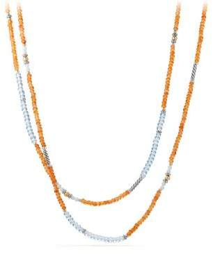 David Yurman Davidyurman Tweejoux Bead Necklace In Orange Chalcedony, Blue