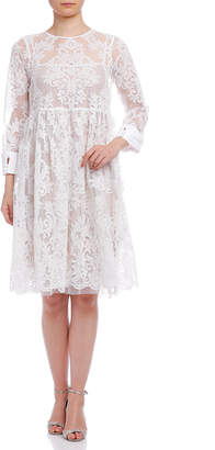 N°21 (ヌメロ ヴェントゥーノ) - N°21 ドットチュール インナードレス付 レース バックリボン 七分袖ドレス ホワイト 38