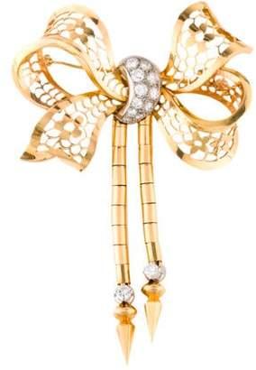 18K Diamond Bow Brooch