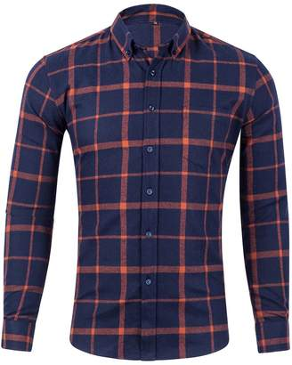 c40dd3e5b9 XI PENG Men s Winter Warm Button Down Plaid Checked Long Sleeve Flannel  Shirts